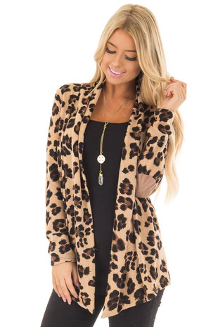 Taupe Leopard Print Cardigan with Faux Suede Elbow Patches front close up