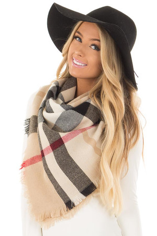 Beige Plaid Blanket Scarf with Fringe Detail front close up