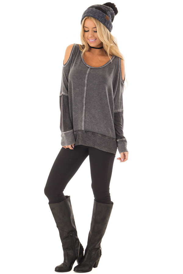 Faded Black Long Sleeve Cold Shoulder Top front full body