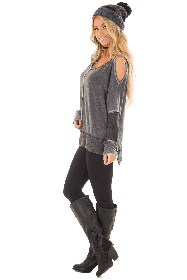 Faded Black Long Sleeve Cold Shoulder Top side full body