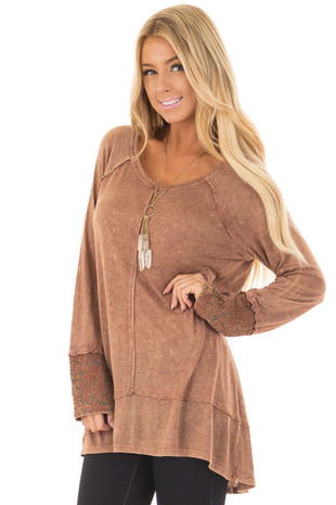 Rust Mineral Wash Long Sleeve Top with Lace Cuff Detail front close up
