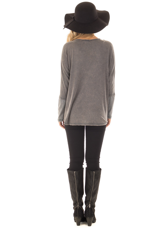 Ash Mineral Wash Long Sleeve Top with Ribbed Cuffs back full body