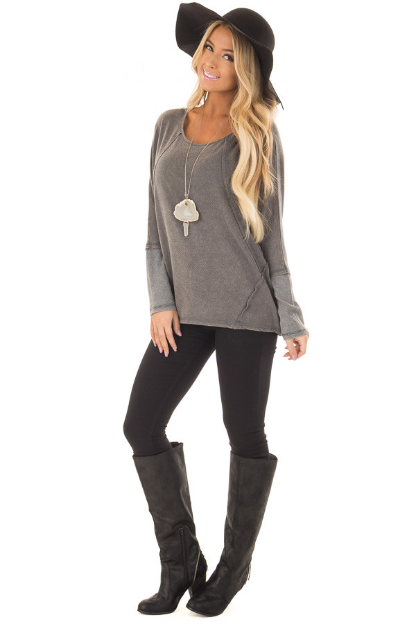 Ash Mineral Wash Long Sleeve Top with Ribbed Cuffs front full body