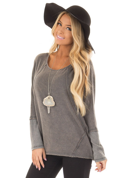 Ash Mineral Wash Long Sleeve Top with Ribbed Cuffs front close up