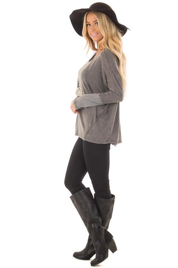 Ash Mineral Wash Long Sleeve Top with Ribbed Cuffs side full body