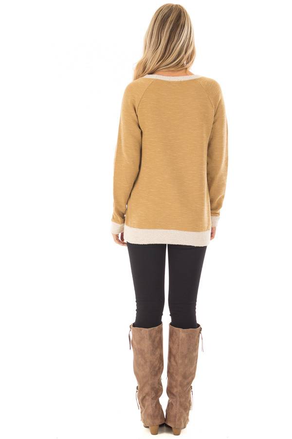 Dusty Gold Sweater with Soft Textured Knit Contrast back full body