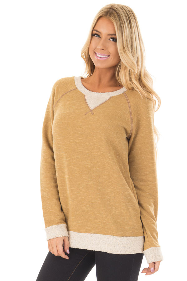 Dusty Gold Sweater with Soft Textured Knit Contrast front close up