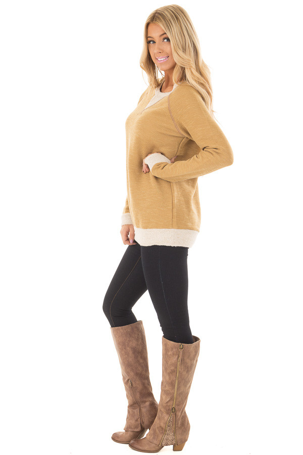Dusty Gold Sweater with Soft Textured Knit Contrast side full body