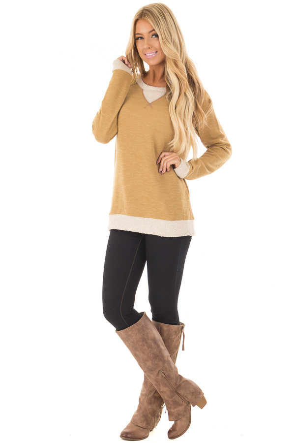 Dusty Gold Sweater with Soft Textured Knit Contrast front full body
