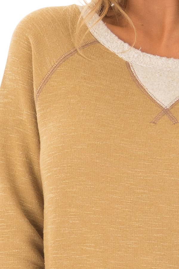 Dusty Gold Sweater with Soft Textured Knit Contrast detail