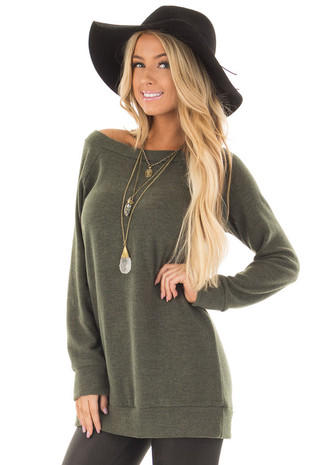 Olive Off the Shoulder Soft Knit Tunic front close up