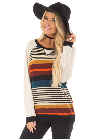 Multicolor Striped Top with Ivory Raglan Sleeves front close up