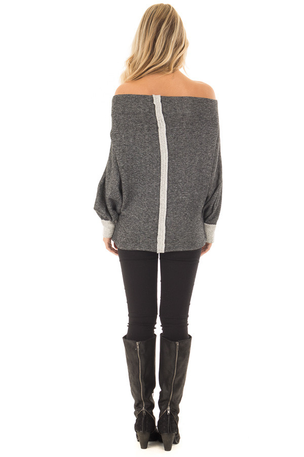 Charcoal Off Shoulder Sweater with Textured Contrast Details back full body