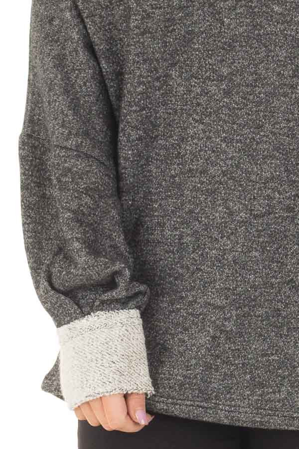 Charcoal Off Shoulder Sweater with Textured Contrast Details detail