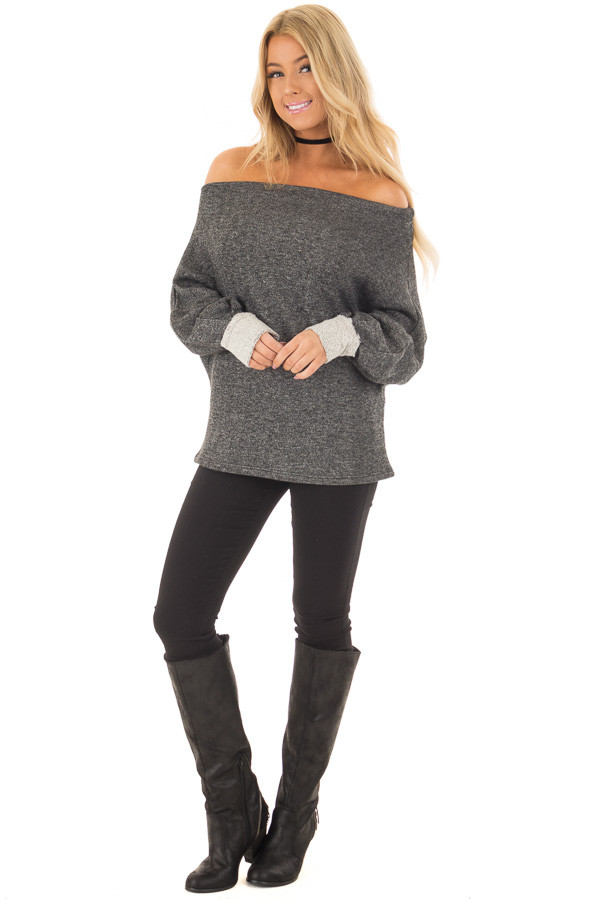 Charcoal Off Shoulder Sweater with Textured Contrast Details front full body