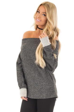 Charcoal Off Shoulder Sweater with Textured Contrast Details front close up