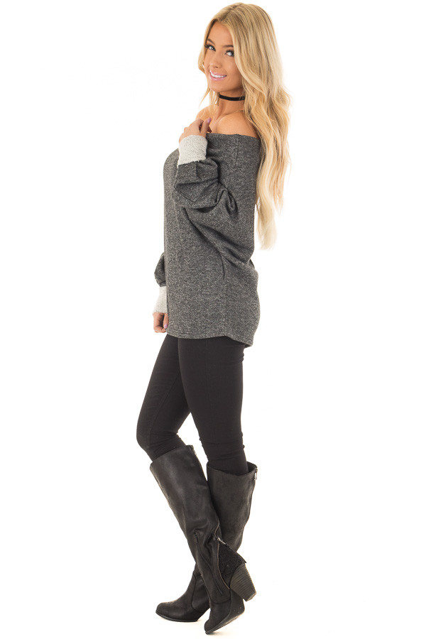 Charcoal Off Shoulder Sweater with Textured Contrast Details side full body