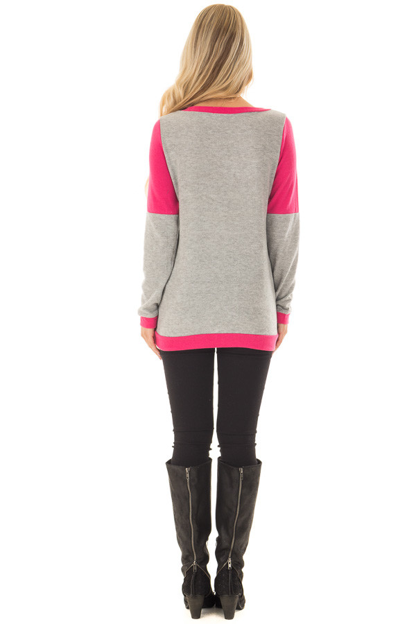 Hot Pink and Heather Grey Color Blocked Lightweight Sweater back full body