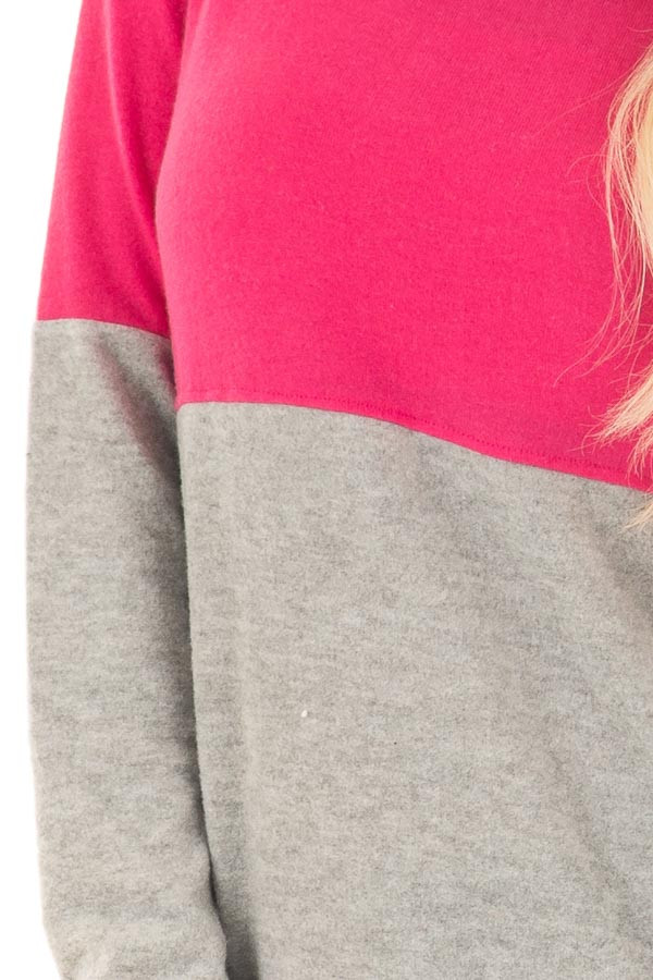 Hot Pink and Heather Grey Color Blocked Lightweight Sweater detail