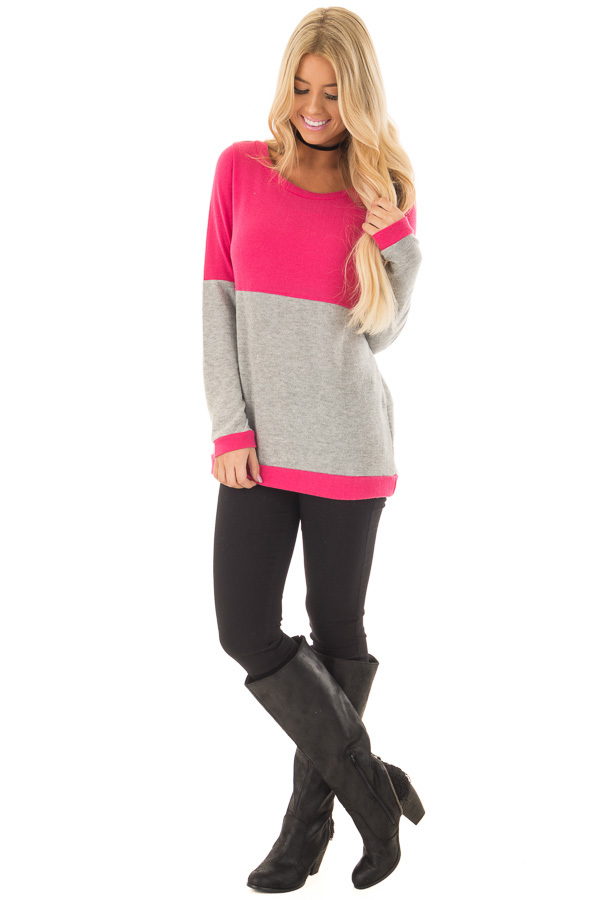 Hot Pink and Heather Grey Color Blocked Lightweight Sweater front full body