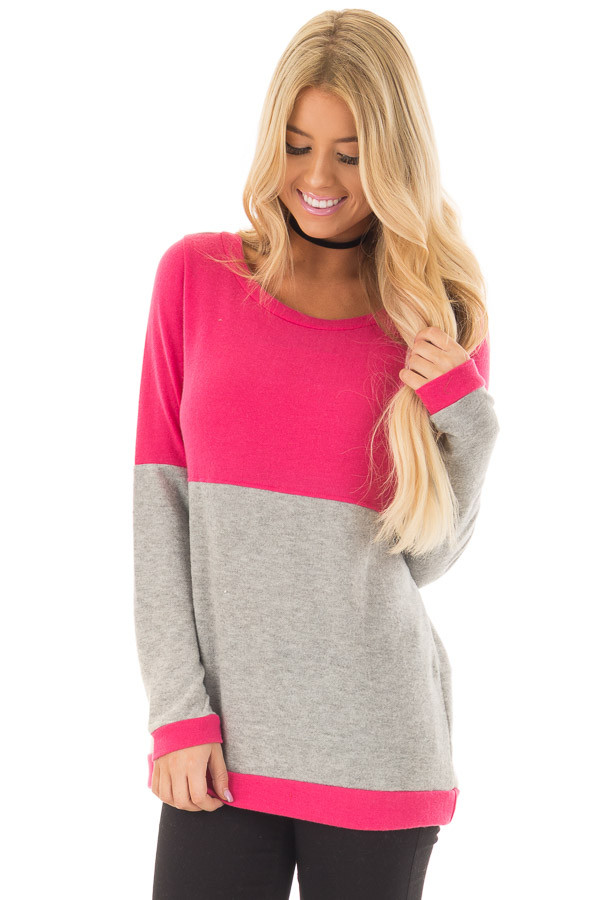 Hot Pink and Heather Grey Color Blocked Lightweight Sweater front close up