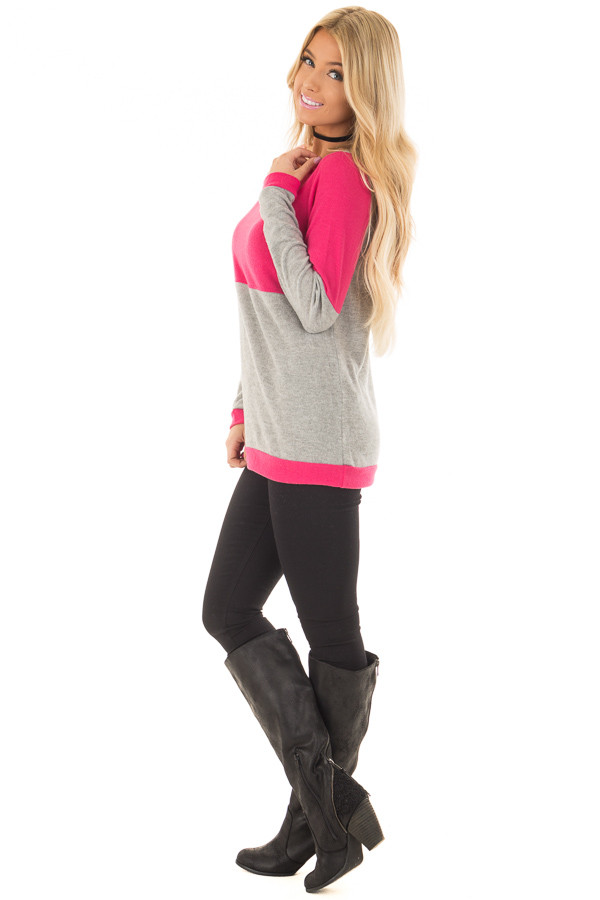 Hot Pink and Heather Grey Color Blocked Lightweight Sweater side full body