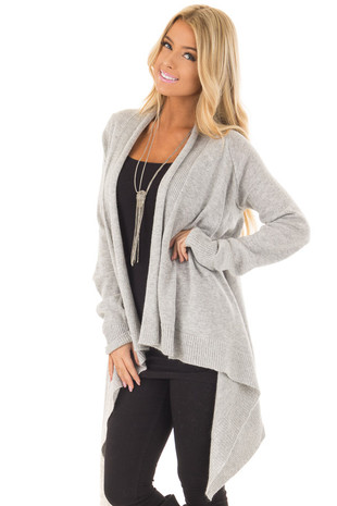 Light Grey Open Drape Cardigan with Asymmetrical Hem front close up