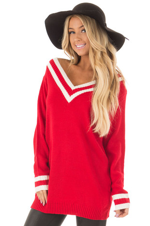 Cherry Red and Ivory Varsity Striped V Neck Sweater front close up