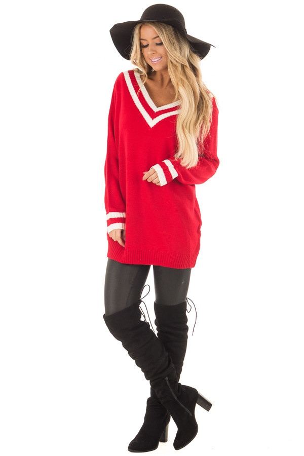 Cherry Red and Ivory Varsity Striped V Neck Sweater front full body