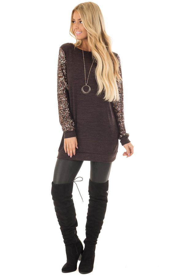 Chocolate Knit Sweater with Sequin Long Sleeves front full body