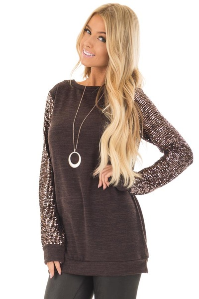 Chocolate Knit Sweater with Sequin Long Sleeves front close up