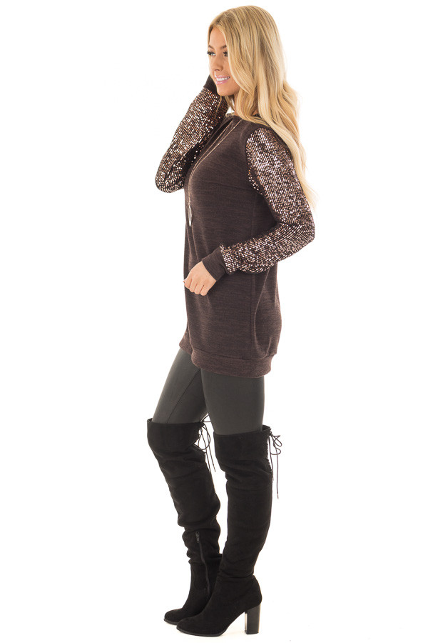 Chocolate Knit Sweater with Sequin Long Sleeves side full body