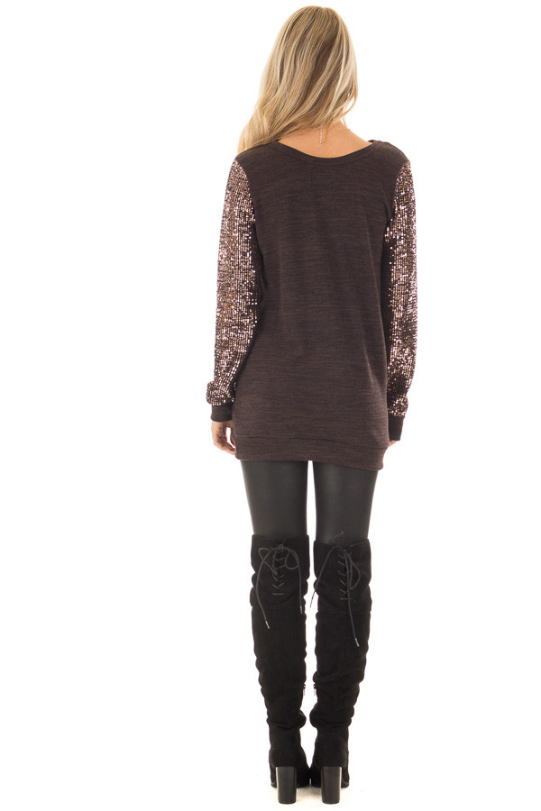 Chocolate Knit Sweater with Sequin Long Sleeves back full body
