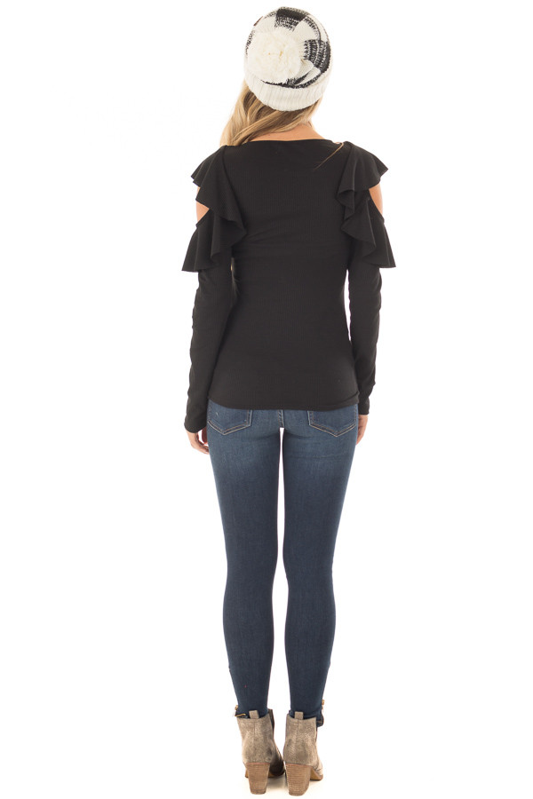 Black Ribbed Knit Top with Ruffled Cold Shoulders back full body