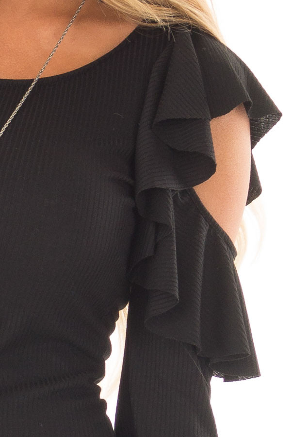 Black Ribbed Knit Top with Ruffled Cold Shoulders detail