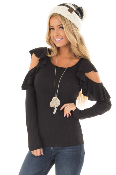 Black Ribbed Knit Top with Ruffled Cold Shoulders front close up