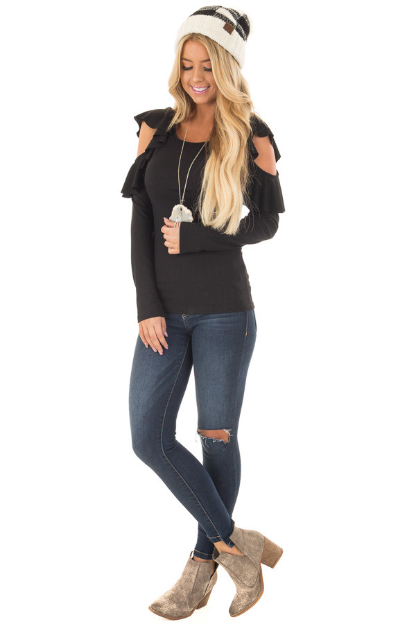 Black Ribbed Knit Top with Ruffled Cold Shoulders front full body