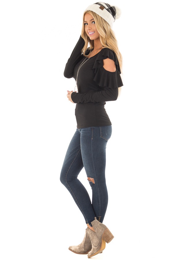 Black Ribbed Knit Top with Ruffled Cold Shoulders side full body