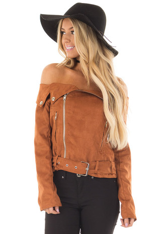 Camel Faux Suede Off the Shoulder Moto Jacket front close up