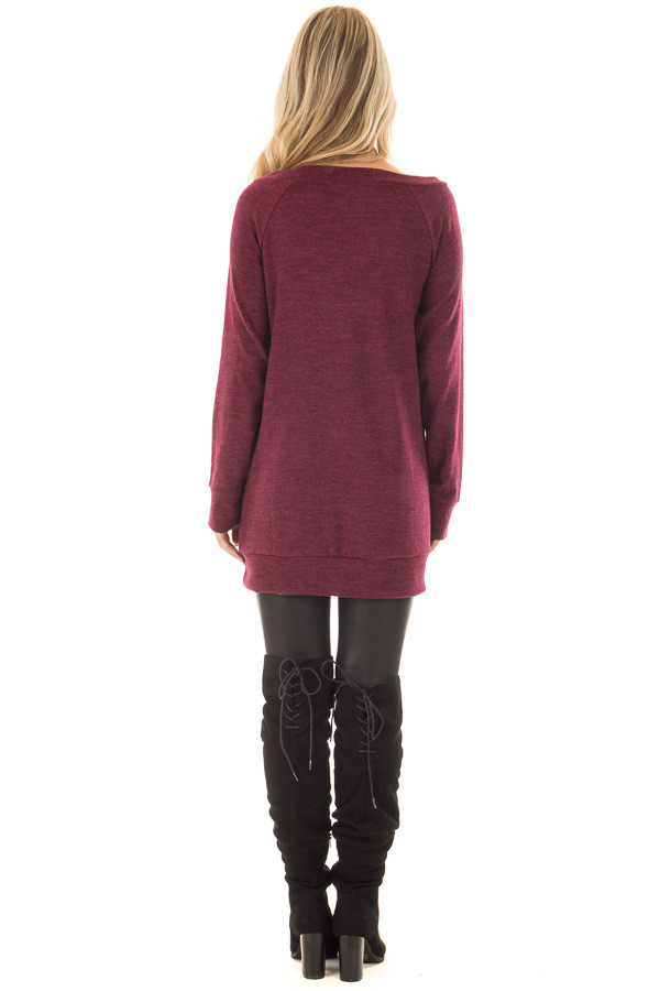 Burgundy Off the Shoulder Soft Knit Tunic back full body