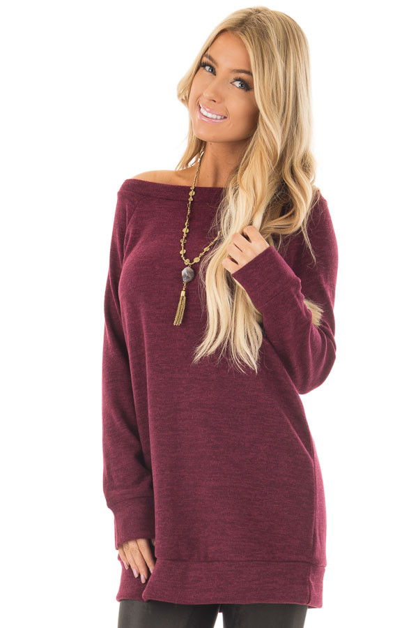 Burgundy Off the Shoulder Soft Knit Tunic front close up