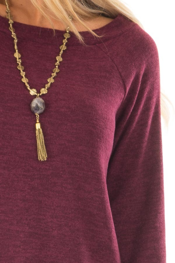 Burgundy Off the Shoulder Soft Knit Tunic detail