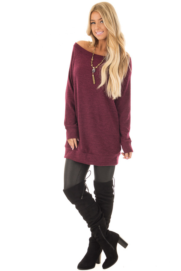 Burgundy Off the Shoulder Soft Knit Tunic front full body