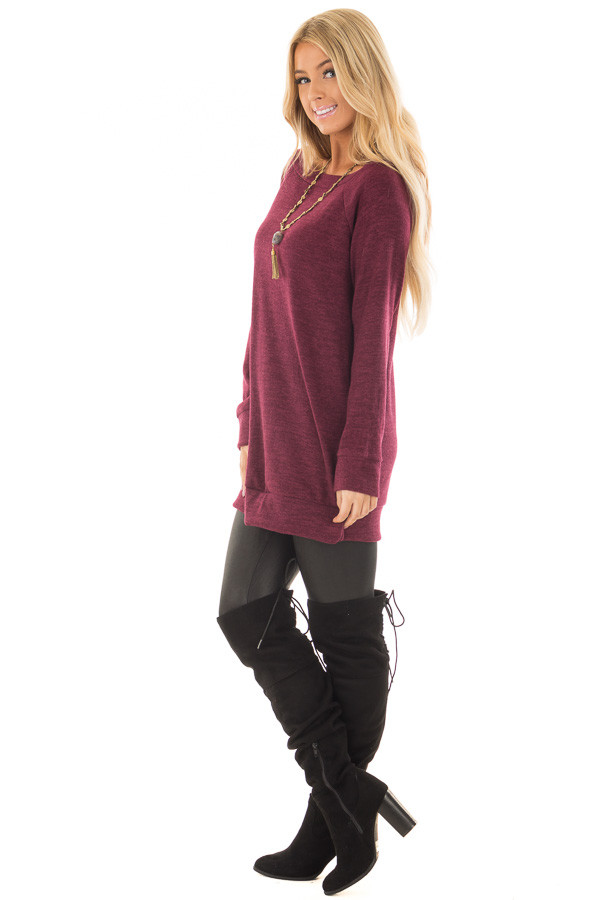 Burgundy Off the Shoulder Soft Knit Tunic side full body