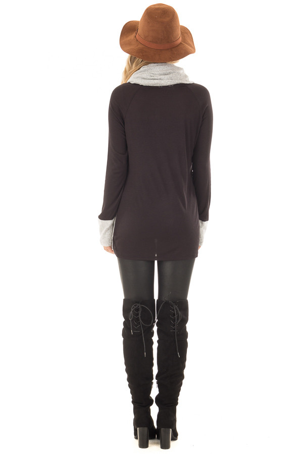 Black Top with Soft Grey Cowl Neck and Button Details back full body
