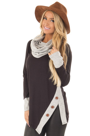 Black Top with Soft Grey Cowl Neck and Button Details front close up