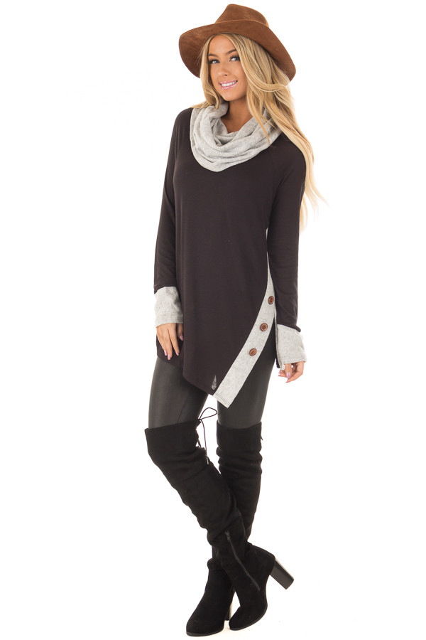 Black Top with Soft Grey Cowl Neck and Button Details front full body