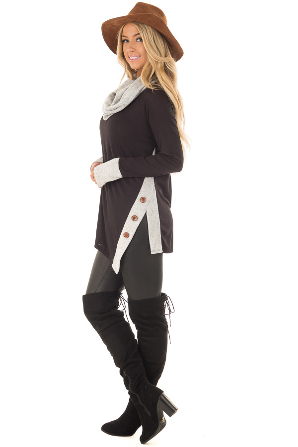 Black Top with Soft Grey Cowl Neck and Button Details side full body