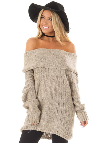 Taupe Fold Over Off the Shoulder Oversized Sweater front close up
