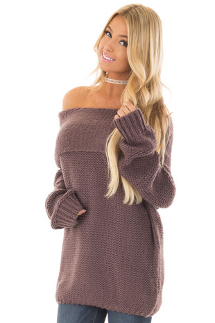 Midnight Fold Over Off the Shoulder Oversized Sweater front close up
